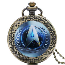 High Quality Blue Design Star Trek Theme Pocket Watch with Necklace Chain Best Gift for Men Women Fans