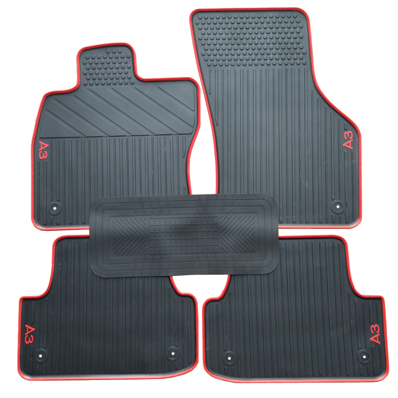 AUDI A3 2004-2011 TAILORED CAR FLOOR MATS BLACK CARPET WITH RED TRIM