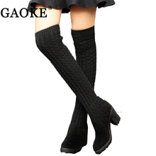 2017 Winter Fashion Shoes Woman Knitted Sexy Snow Boots Women Knee High Boots Elastic Slim Thigh High Heel Black Boots(China)