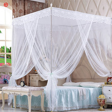 White palace mosquito net quadrate Summer mesh net bed curtain with stainless steel frame blue floor-net netting moustiquaire(China)