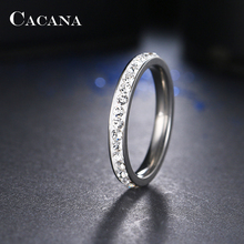 CACANA Stainless Steel Rings For Women Small CZ  Surround Fashion Jewelry Wholesale NO.R19