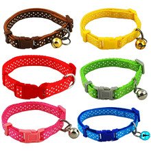 Candy color adjustable pet dog puppy collar bell nylon Dot necklace for doggie Cat Soft Pet Animals Neck Chain