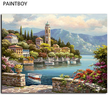 Seascape Framed Pictures Painting By Numbers Wall Art Europe Style DIY Canvas Oil Painting Home Decor For Living Room G440(China)