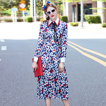 2017 Brand Fashion Runway Dress Women Summer Autumn Dresses Long Sleeve Turn Down Collar Plus Size Printing Holiday Casual Dress