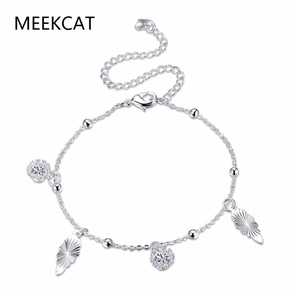 MEEKCAT Bohemia Style Beach Sexy Round Cubic Zircon Pendant Anklet 925 stamped silver plated Bracelet Ankle Chain For Women Gift(China)