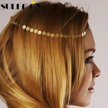 Fashion Gold C Coin Head Piece For Women Headpiece Hoop Head Chain Hair Jewelry Charm Headbands Wedding Accessories A47(China)