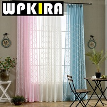Embroidered Yarn White Pink Blue Tulle Sheer Geometric Window Curtain Fabric Embroidery Design Curtain Embroidered Cotton 50