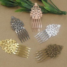 Vintage Antique Bronze 5 Teeth Comb Hair Jewelry Charm Women Flower Hairpin Hairclips Barrettes Retro Hair Wear Accessories(China)