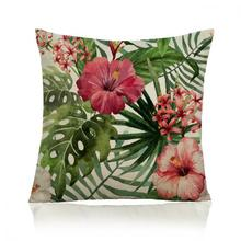 Hand Painted Tropical Flower Leaves Hibiscus Plant Decorative Soft Short Plush Pillow Cushion For Home Accessories 45*45 Cm