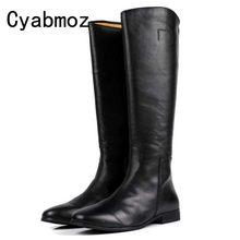 Cyabmoz moda británica de alta calidad de cuero genuino hombres pantorrilla  largo Zip botas Zapatos hombre negro lujo montar la . 3e9fcf774d85f