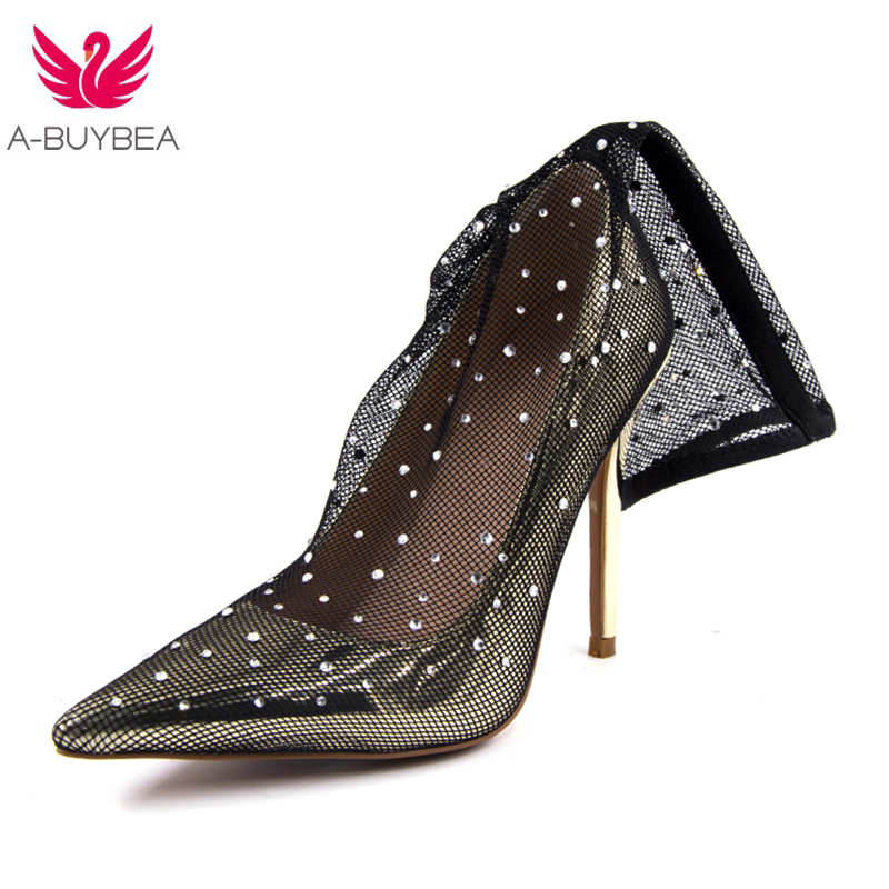 2018 Spring beaded flowers sexy high heels shallow Pointed Toe lace ladies sandals net cloth elegant womens pumps wedding shoes<br>