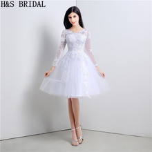 Long Sleeve short wedding dress Applique Knee Length Lace Wedding Gown Princess cheap wedding dresses made in china