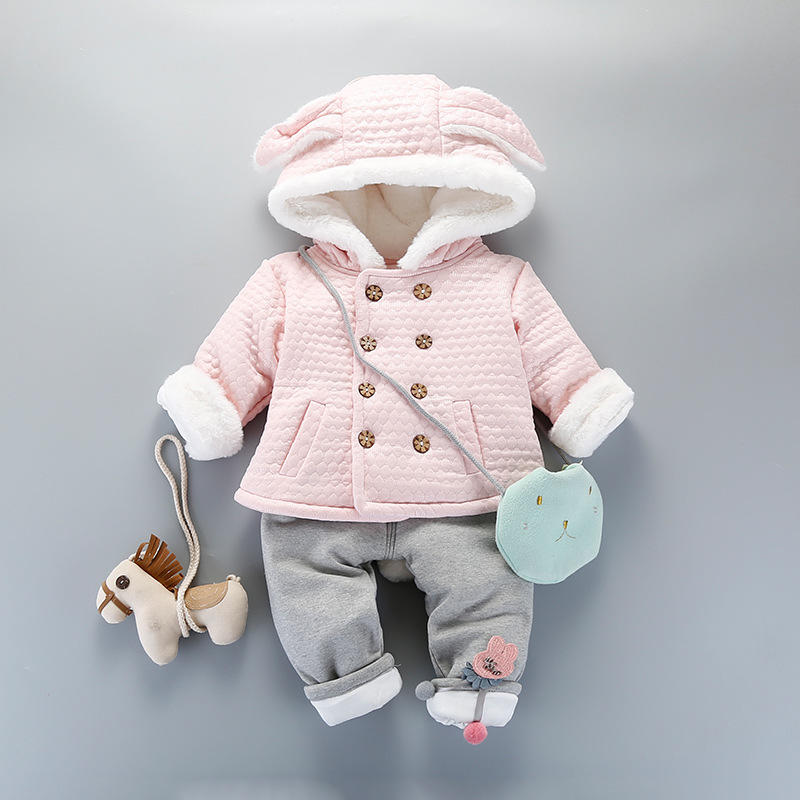 Double Breasted Fleece Winter With Thick Winter Clothing Infant Female Two Pieces Baby Girls Travel Service Suits<br>