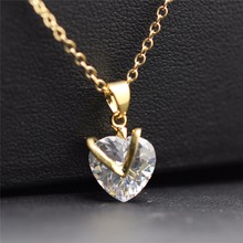 heart design necklace  yellow gold Zircon float heart chocker Pendant chain Necklace Fashion jewelry women girl couple 45456