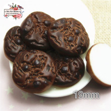 10PCS round Chocolate cookies Resin Flat back Cabochon imitation food Art Supply Decoration Charm Craft
