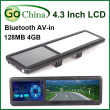 Rear View Mirror car GPS, 4.3 inch MTK navigator, wince 6.0 , bluetooth, AV-in , FM,4G, free maps and free shipping