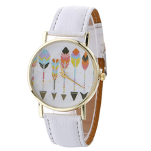 Ladies' Quartz Wrist Watch Colorful Arrows Darts Printed Leather Strap Watch Women Fashion Bracelet Watch Girls Kids Gift