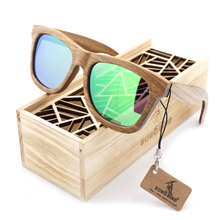 BOBO BIRD Wood Sunglasses Brand Designer brown wooden sunglasses Style Square SunGlasses Gafas Oculos Masculino(China)