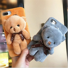 UVR Lovely warm Plush with bear doll Phone cases for iphone 6 6s plus 7 7plus 5s case Cover  Mobile phone case fundas carcasas