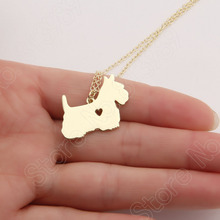 1pcs Scottish Terrier Necklace Dainty Pendant Puppy Heart Dog Lover Pet Necklaces & Pendants Charms Christmas Gift Lead Free