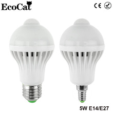 ECO Cat LED PIR Motion Sensor light 5w 220V E27 E14 cold warm Led Bulb Auto Smart Led PIR Infrared Body+Light Motion Sensor lamp