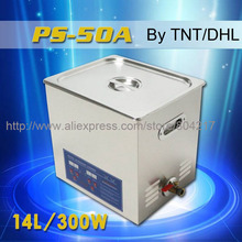 Digital Ultrasonic cleaner 14L 300W digital timer & heater control AC110/220 PS-50A hardware parts free basket Commercial washer(China)