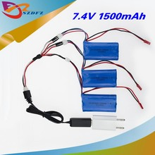 7.4V 1500mah li-po battery 3pcs and USB charger plug 3 in1 cable for DH9053 9101 mjx f45 9118 rc Helicopter parts(China)