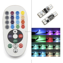 1set Car Atmosphere Lights multiple colour T10 6smd RGB remote control Interior strobe lights decorations bulbs Car Styling