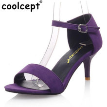 Coolcept Women High Heel Sandals T Stage Classic Dancing Heeled Sandals Stiletto Party Wedding Shoes Footwear Size 34-42 PA00439(China)