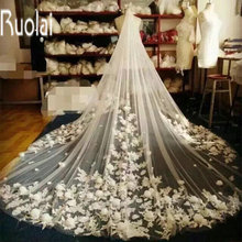 2016 3M Long In Stock White And Ivory Applique Lace Flowers Edge One-Layer Tulle Wedding Bridal Veil Wedding Accessories