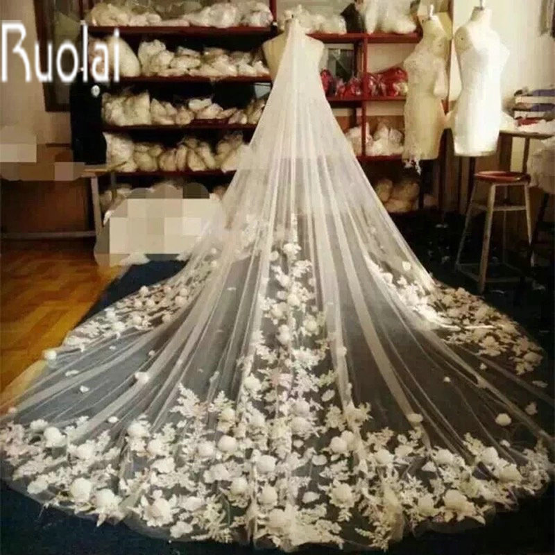 2016 3M Long In Stock White And Ivory Applique Lace Flowers Edge One-Layer Tulle Wedding Bridal Veil Wedding Accessories(China (Mainland))