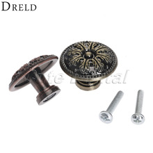 Round Brass Knobs and Pulls for Cabinets Single Hole Door Knob Antique Bronze Alloy Cabinet Wardrobe Drawer Closet Pull Handle(China)