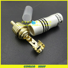 10pcs/lot RCA AV Audio Video Plug For Gold Snake 24K Gold Lotus Connector Color Difference Jack