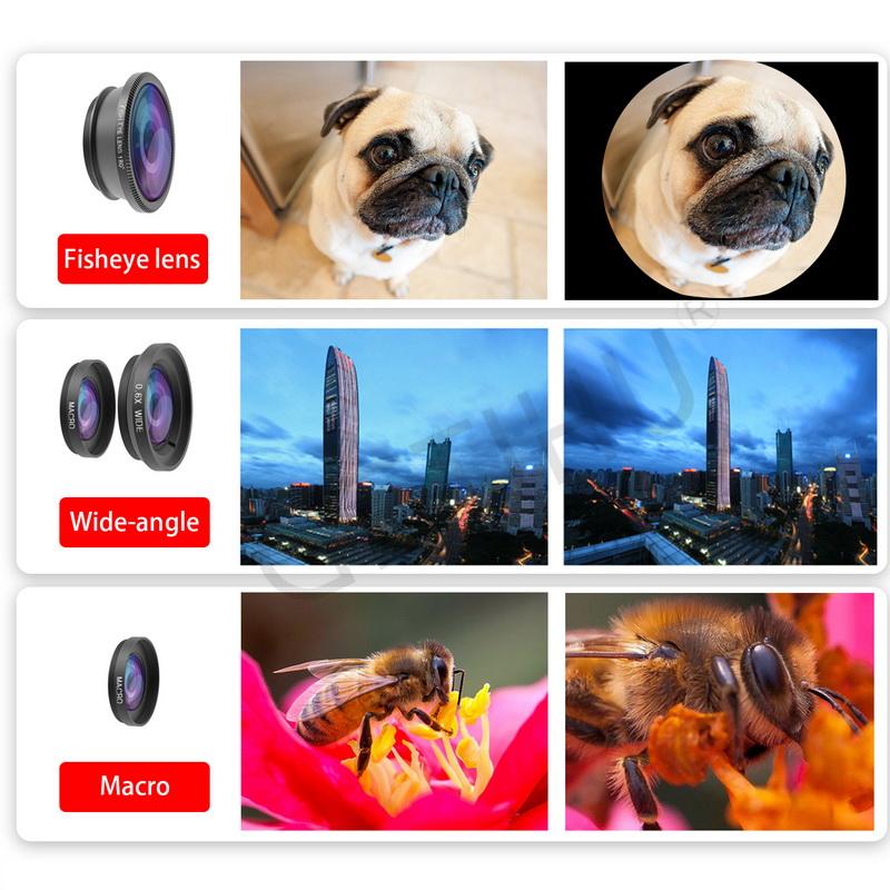 Universal Fisheye Lens 3 in 1 Mobile Phone Clip Lenses Fish Eye Wide Angle Macro Camera Lens for Smartphone iPhone 6 Microscope 2
