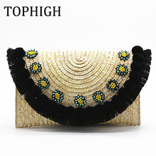 TOPHIGH beach bag straw clutch messenger bag envelope bag women lady day tassels pineapple summer crossbody bags for women C82(China)