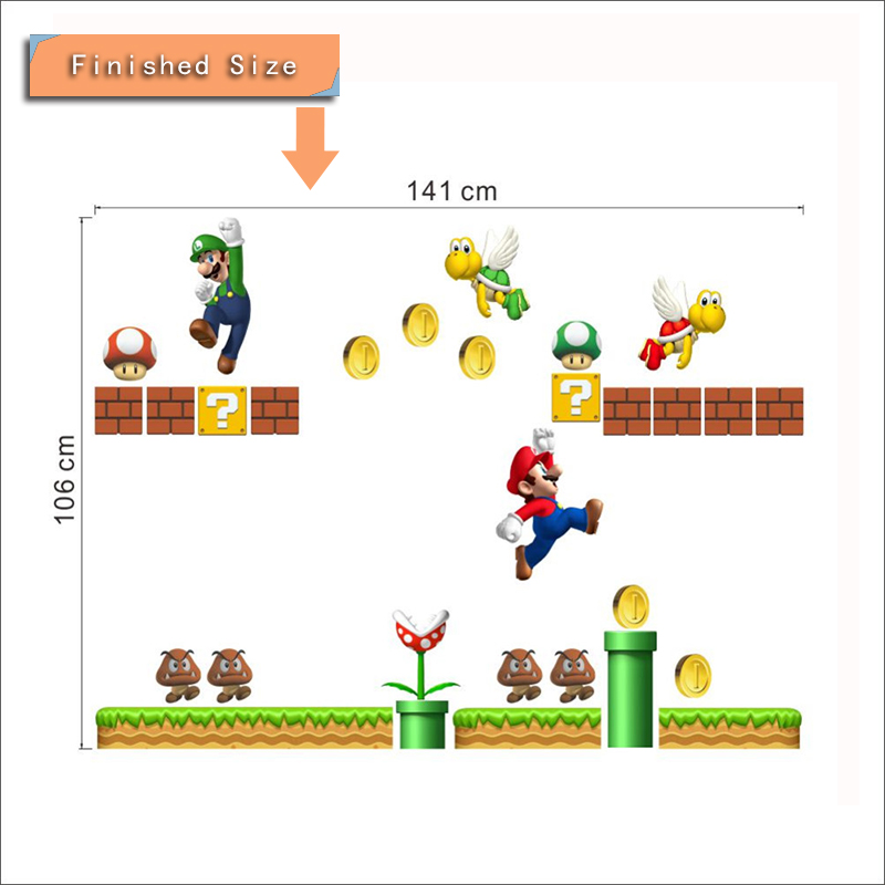 HTB1SgByRpXXXXXqaFXXq6xXFXXXI Super Mario Bros Kids Removable Wall Sticker Decals Nursery Home Decor Vinyl Mural for Boy Bedroom Living Room Mural Art
