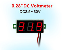 0.28 Inch Red Blue Digital LED Mini Display Module DC2.5V-30V DC0-100V Voltmeter Voltage Tester Panel Meter Gauge Motorcycle Car(China)