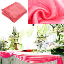 Dark Coral 5M*1.35m Organza fabric Wedding Decoration table top curtain Party Chair Sash Bow Table Runner Swag table skirt(China)