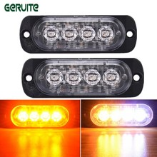 2PCS 12V-24V 4 Led Strobe Warning Light Amber Strobe Emergency Grille Flashing Lightbar Truck Car Beacon Slim Bright Car-Styling(China)