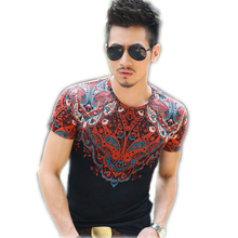 Brand-clothing man t shirt summer 2016 floral latest mens fashion shirts luxury brand men t shirt casual mens clothing  AA008