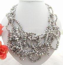 Stunning! Grey Pearl Necklace
