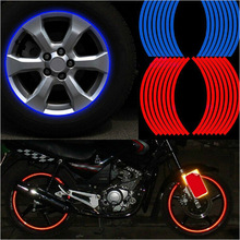 """New! 16 Pcs Strips Wheel Stickers And Decals 14"""" 17"""" 18"""" Reflective Rim Tape Bike Motorcycle Car Tape 5 Colors Car Styling(China)"""