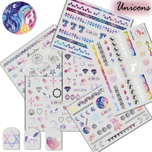 1 pcsUnicorn Nail Decoration Nail Art Stickers Water Decals  Manicure Gel For Polish Accessory Stickers For Nail TRBN637-648