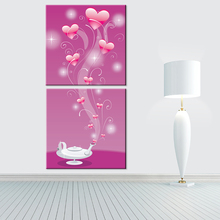 Modular Oil Painting Frameless Canvas Print Art Home Decoration Charm Abstract Flower Love Picture for Room Wall Decor 2 Panel(China)
