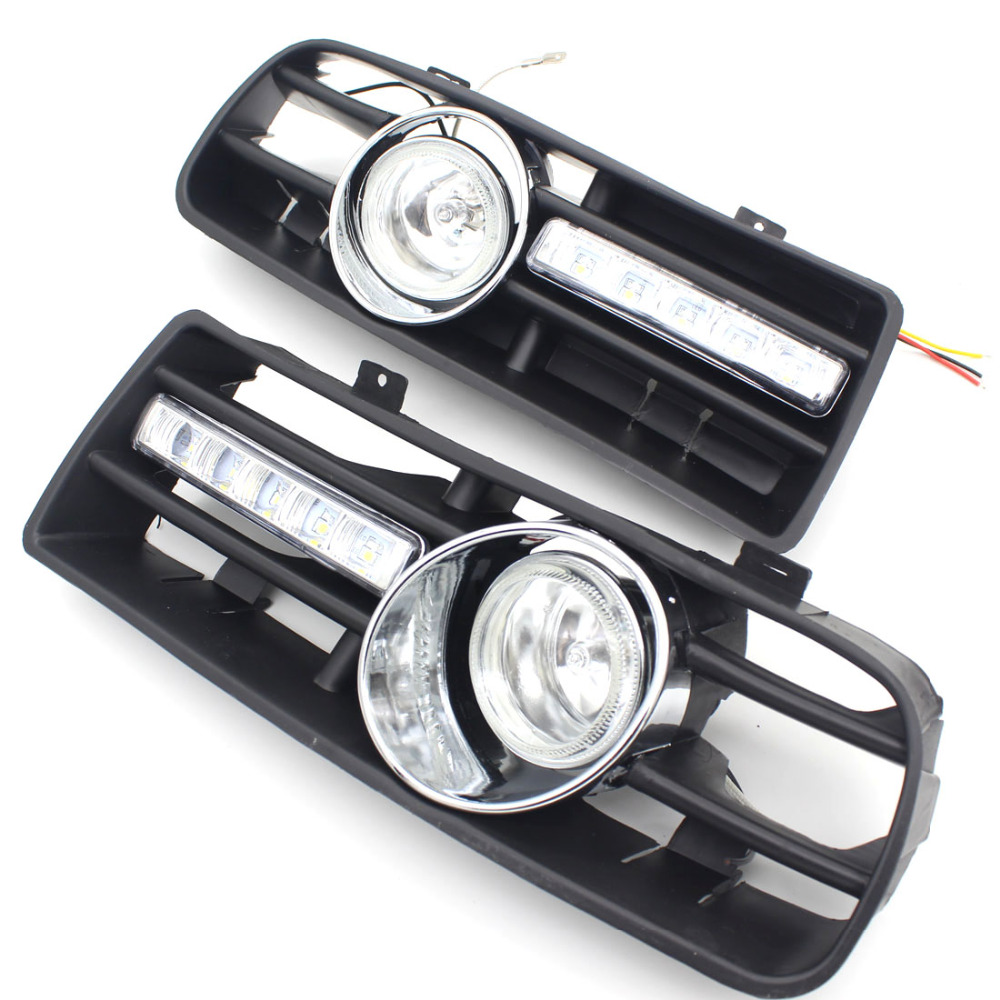 Dongzhen LED Car External Light Bumper Grille Grill DRL Daytime Running Light Driving LED Fog Lamp Light For VW  97-06 GOLF MK4<br>