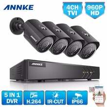 ANNKE 4CH CCTV System 960P AHD DVR 4PCS 1.3MP  IR Weatherproof Outdoor Camera Home Security System Surveillance Kits Email Alert