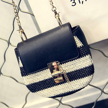 Shote bag 2016 star stylecolor block knitted chain Ladies Black and white pig Shape Shoulder Bag Women Messenger Crossbody Small