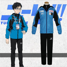YURI on ICE Katsuki Yuri Cosplay Costume Men Sport Suit Sportwear Outfit Blue Jacket+Black Top+Black Pants Full Set(China)
