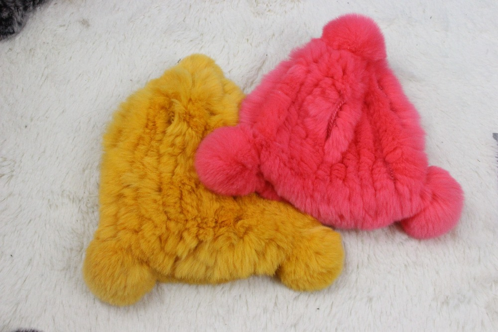 Linhaoshengyue real fur rex rabbit fur Children hat winter warm freeshipping fashion warm 24