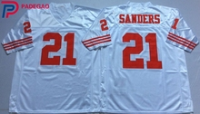 Embroidered Logo Deion Sanders 21 white black throwback high school FOOTBALL JERSEY for fans gift cheap 1106-8(China)